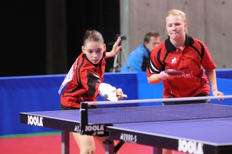 Bernadette Szocs and Yana Noskova, team mates once again in the Cadet Girl's Doubles Event
